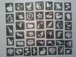 10 - 100 girls themed mini small stencils for glitter tattoos / airbrush / henna / cakes   Ideal for Fund raising, PTA - School & charity